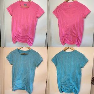 Athleta | Two Ruched Short Sleeve T Shirts- Large